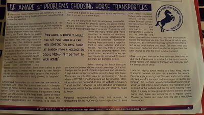 magazine article on horse transport
