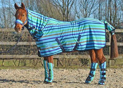 multi stripe fleece rug with horse